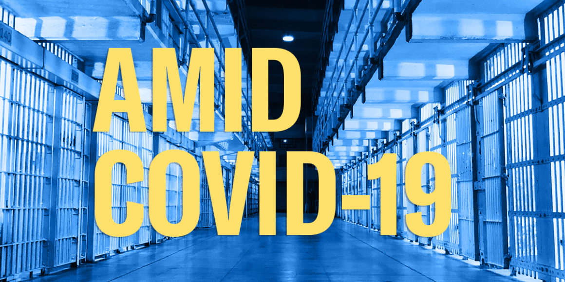 """jail cells and header text """"amid covid-19"""""""