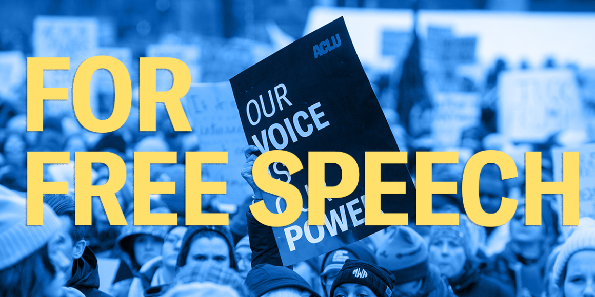 """ACLU Protesters holding signs that read """"our voice our power"""" and header text """"for free speech"""""""