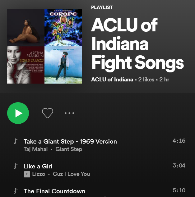 ACLU OF INDIANA FIGHT SONGS SPOTIFY LIST