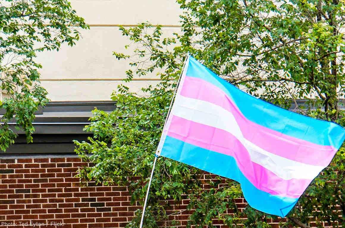 Trans Flag flying