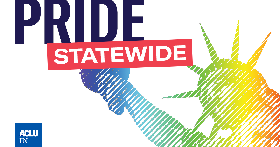 Pride Statewide: Statue of Liberty in rainbow colors