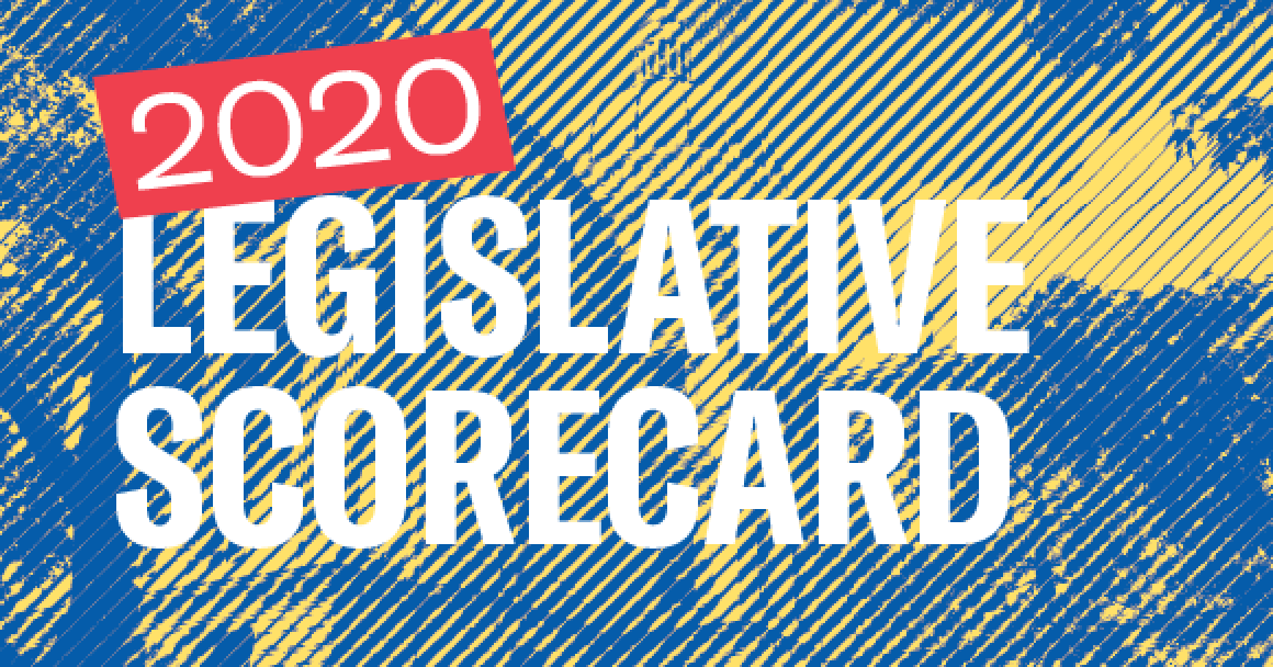 Indiana Statehouse with text 2020 Legislative Scorecard