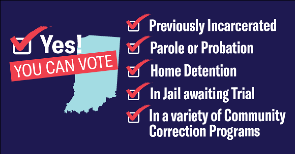previously incarcerated? Yes, You can vote in Indiana